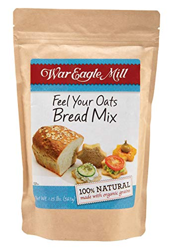 War Eagle Mill 'Feel Your Oats' Bread Mix, all natural, made with organic non-GMO flour - great for hand baking or in the bread machine - n a resealable bag (1.25 lb)