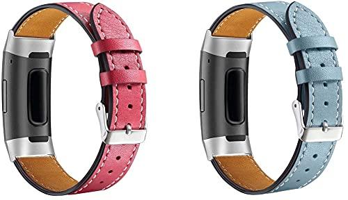 Chainfo Correa de Reloj de Piel con Hebilla Compatible con Fitbit Charge 4 / Charge 4 SE/Charge 3 SE/Charge 3, Estilo de Vintage, Replacement Banda (Pattern 8+Pattern 9)