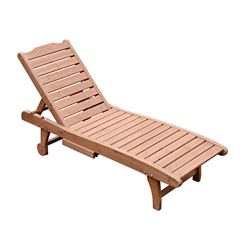 Outsunny Acacia Wood Folding Outdoor Chaise Sun Lounge Chair With Cushion Pad Patio Garden Furniture Home Garden