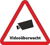 Aufkleber Videoüberwacht als Dreieck - 5cmx4,5 cm - Sicherheit für Ihr Fenster am Haus oder Büro