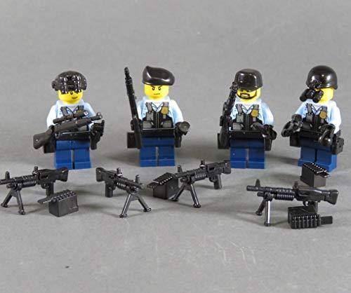 Markenwelt-Voegele 4 Polizei Figuren Polizist SWAT aus Lego ® und Custom Teilen mit Zubehör