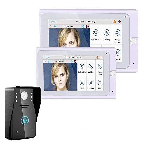 ENNIO 720P 7 pulgadas WiFi inalámbrico de vídeo portero de telefono timbre de la puerta de la cámara IP PIR IR visión nocturna con 2 monitores 1 cámara al aire libre