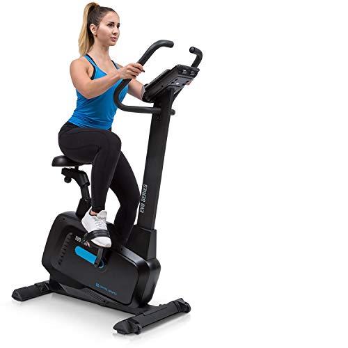 CapitalSports Capital Sports EVO Pro Bicicleta estática - Fitness, Ordenador de Entrenamiento, Bluetooth, 32 Niveles, Aplicación, Volante de inercia 20 kg, Soporte Tablet, Pulsómetro, Negro