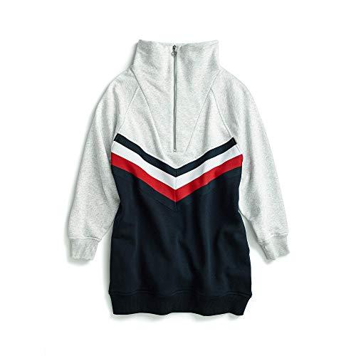TOMMY HILFIGER Damen Sweatshirt Dress with Elongated Collar Zipper Freizeitkleidung, Marineblau/Grau/Multi, X-Klein