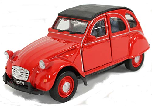 Schaepers Kaleidoskope Modellauto / Citroen 2 CV / Ente / mit Rückzugantrieb /1:38 / ca. 12 cm / DREI Farben / Rot / Weiss / Silber / Zufallsauswahl / Citroen