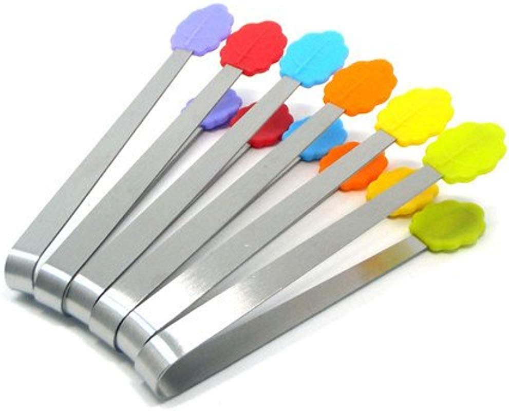 Antrader 6pcs Mini Multi Function Stainless Steel Tongs Set With Colorful Silicone Handle For Kitchen Food Folder And Party Serving Leaf Shaped Handle