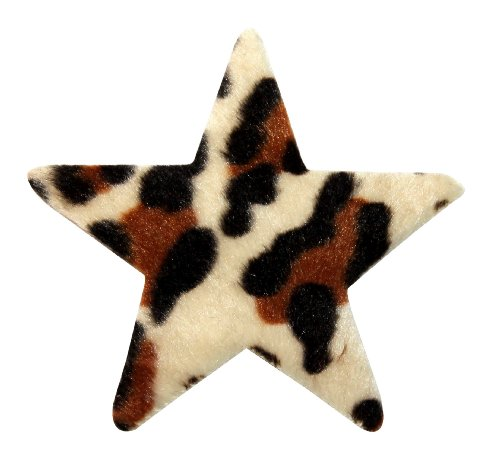 ID 9063 Fuzzy Leopard Print Star Patch Craft Shape Symbol Felt Iron On Applique