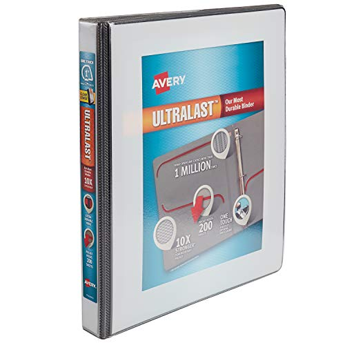 Avery 1 Ultralast 3 Ring Binder, One Touch Slant Ring, Holds 8.5 x 11 Paper, 1 White Binder (79744)