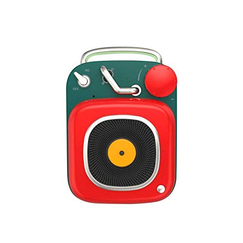 WOHAO Medios Dispositivo de Streaming Sistema de Sonido estéreo Altavoz Bluetooth Creativa Atómica Retro Mini Wireless Music Surround Speaker Impermeable al Aire Libre (Color : Red)