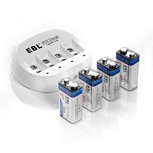 EBL 4pcs Piles 9V Rechargeables - avec Chargeur de Piles 9V 4 Slots, Batteries 9V 6F22 600mAh Li-ION (Charge Rapide par USB)