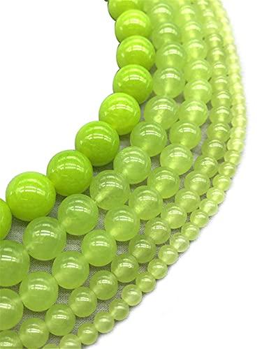 Piedra natural de calcedonia verde oliva redonda cuentas de cristal sueltas para hacer joyas pulsera de 15 pulgadas 4/6/8/10/12 mm verde 4mm aprox 93beads