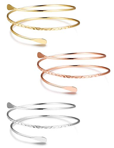 YADOCA 3 Pcs Upper Arm Bracelets for Women Girls Minimalist Open Arm Cuff Bracelet Boho Arm Bangle Set Adjustable Fashion Simple Armband Bangle Bracelet Silver Gold Rose Gold