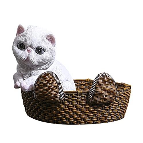 LOVIVER Cute Animals Catchall Escritorio Vanity Valet Tray Entrada Entrada Almacenamiento Hogar Llave Organizador de Teléfono Candy Nuts Exhibición de Joyas C - 16.5x15.5x13cm Gato