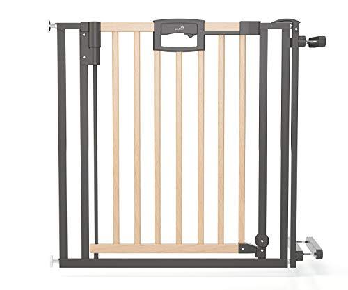 Geuther Türschutzgitter Easylock Plus - Treppenschutzgitter Easylock Wood Plus aus Holz mit Metalrahmen in Natur/Anthrazit Passung: 84, 5 cm - 92, 5 cm