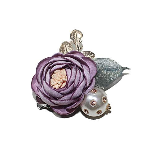 XZFCBH Broche de Flores de Tela Pin Corto Collar Broche de Perlas Joyas para Trajes Pin de Solapa Chaquetas Cárdigan Accesorios Joyas Violeta