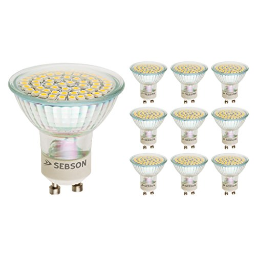 SEBSON LED Lampe GU10 warmweiß 3,5W, ersetzt 35W Halogen, 300 Lumen, GU10 LED Strahler 230V, LED Leuchtmittel 110°, 10er Pack