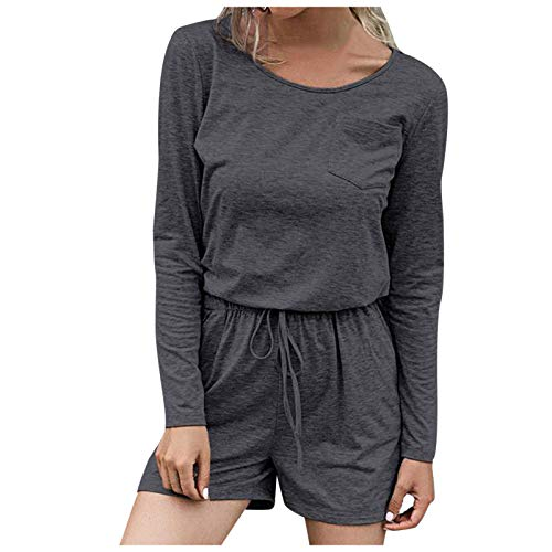 Pistaz Traje de deporte para mujer de color puro, cuello redondo, camiseta de manga larga + pantalones cortos para yoga, traje de deporte, pijamas para correr, gris oscuro, M