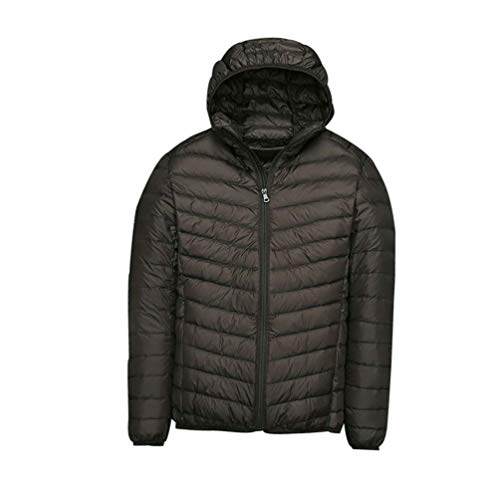 GenericBrands Lightweight Duck Down Filling Coat Winter Warm Packable Hooded Coat for Travel,Hiking,Climbing, black 4XL