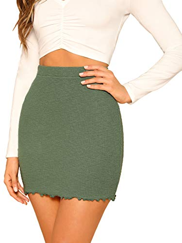 SheIn Women's Ribbed-Knit Stretchy Cotton Short Mini Pencil Bodycon Skirt Army Green