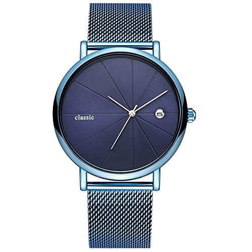 WNGJ Hombre Reloj Impermeable De Negocios Cuarzo Relojes Simples Hombres Y Mujeres Deportivo Relojes Caja De Reloj De Madera Maciza Blue