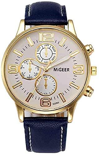 JZDH Mano Reloj Reloj de Pulsera Relojes Hombres Mujeres Casual Reloj Reloj Muñeca Relogiono Unisex PU Cuero Cuarzo Relojes Relojes Relojes Decorativos Casuales (Color : Navy)