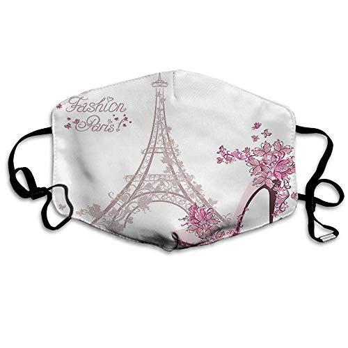 Atmungsaktive Premium Gesichtsschutzhülle,Paris Gesichtsdekorationen Frankreich Eiffelturm Blume Schmetterling Liebe Herz High-Heel Schuhe Frauen Männer Anti Wind Staubschutz Schutzhülle Für Skiradf