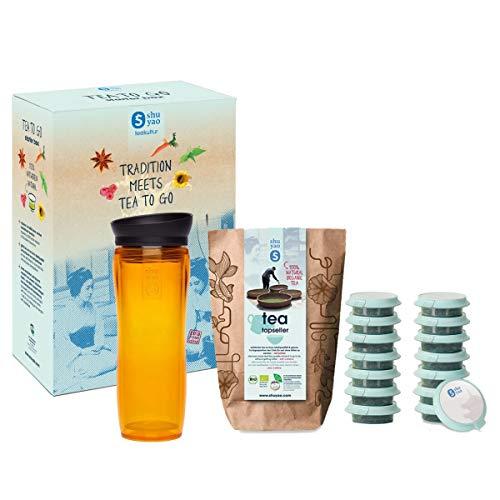 shuyao teekultur Starterbox Tea to Go Thermobecher mit integriertem Teesieb + 5x3 Loser Bio Tee mit Koffein, Orange, 45g