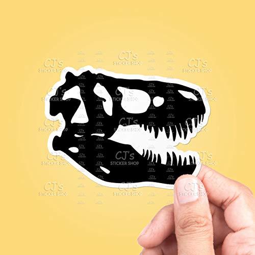 rfy9u7 Dinosaur Skull Silhouette #3 Vinyl Sticker, Laptop Stickers, Decal, MacBook Decal, 12 Inch, 3 PCS