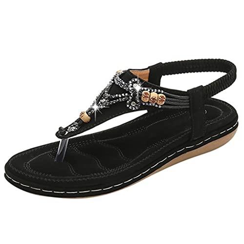 JJZXD Cuentas de Cristal de la Moda de Las Mujeres Zapatillas Planas Sandalias, Zapatos Casuales de Damas, Grosor de la Base 3,5 cm (Size : 42)