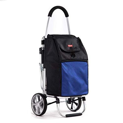 Einkaufswagen-Caddy Alter Mann kauft Lebensmittel Turnschuhe Klein-LKW Folding Auto beweglicher Anhänger Removable Einkaufstasche Mehrzweck Warenkorb zeichnen (Farbe: blau, Größe: 100 * 55 * 48 cm) Ju