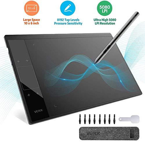 Tavoletta Grafica Tablet, VEIKK-A30 Tavoletta Grafica Portatile con Penna Passiva da 8192 Livelli e Tablet 5080 LPI per Mano Sinistra/Destra, Gesto Intelligente con 4 Tasti a Sfioramento