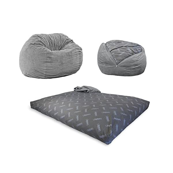 CordaRoy's Chenille Bean Bag Chair, Convertible Chair Folds from Bean Bag to Bed, As Seen on Shark Tank, Charcoal – Full Size