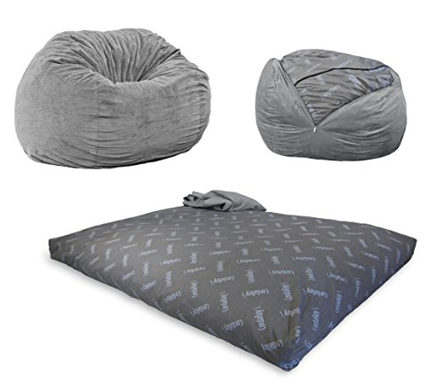 CordaRoy's Chenille Bean Bag Chair, Convertible Chair Folds from Bean Bag to Bed, As Seen on Shark Tank - Charcoal, Full Size Bags Bean Dining Features Home Kitchen