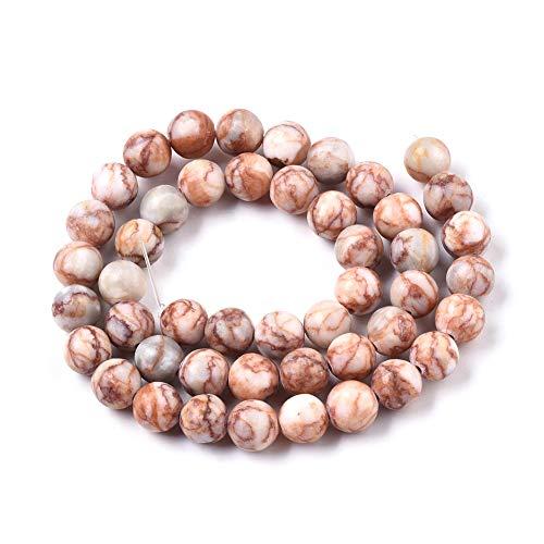 ZEMRIO Perlas de piedras preciosas naturales de red rojas de 10 mm para fabricación de joyas, manualidades, pulseras, collares, perlas (red roja, 10 mm)