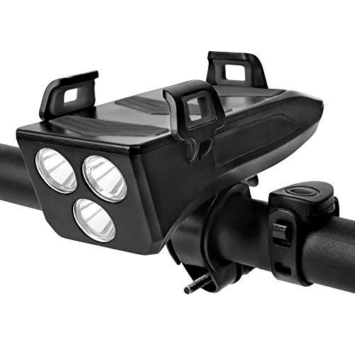 Dewanxin d'éclairage de vélo, Lumière de Vélo de 4 en 1 USB Rechargeable étanche, Eclairage Avant avec klaxon et Support pour téléphone Portable et Power Bank 4000 mah, pour VTT VTC Bicyclette (Noir)