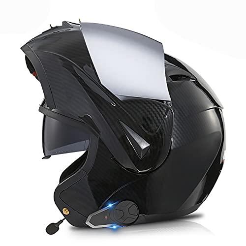 Casco de Motocicleta con Bluetooth Integrado,intercomunicador FM MP3 Incorporado Sistema de comunicación para Casco Modular Certificado ECE/Dot Cascos Modulares K,M=57~58cm