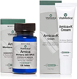 VitaMedica Arnica Montana 30X HPUS Tablets & Arnica Cream with Vitamin K for Bruising & Swelling Post Surgery or Injury
