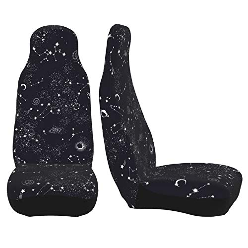 Car Seat Covers 2pc Front Seat Protector Cover Cushion Moon Space Planet Stars Galaxy Universe Overall Surrounded Decor Universal Auto Stretch Elastic for Most Vehicle, Car, SUV Sedan & Truck