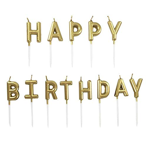 JUHONNZ Happy Birthday Candles Set,Metallic Cake Candles with Letter Happy Birthday for Birthday Party Cupcakes Topper Decorations,Gold