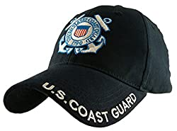 Image: U.S. Coast Guard Logo with Text Cap, Navy Blue, One Size Fits Most | EAGLE CREST