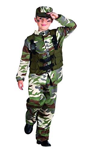 Boland- Militare Costume Bambino, Verde, 7-9 anni, 82188