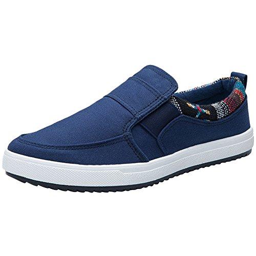 Wealsex Zapatos para Hombres Fondo Plano Zapatos de Lona,Zapatos Vulcanizados Sin Cordones Zapatos de Lona Casuales 38-45