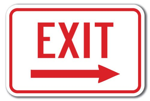 "Enter-exit Signs -exit with Right Arrow Sign 12"" X 18"" Heavy Gauge Aluminum Signs"