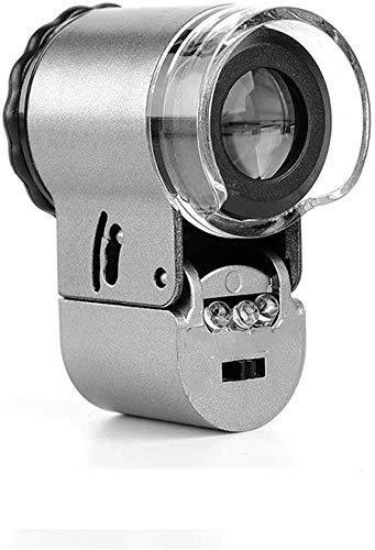 Wxxdlooa Handheld Glas met LED-verlichting, 50x Microscoop, met violet licht, voor veldonderzoek, juwelen identificatie, afdrukken productie, antieke waardering