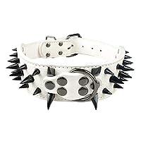"""2""""ワイドシャープスパイクスタッズレザードッグカラーピットブルブルドッグビッグドッグカラーミディアムラージドッグ用に調整可能ボクサーSM L XL (M,White Black Spike)"""