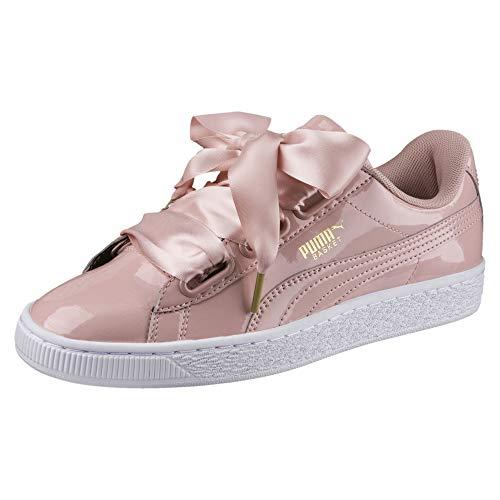 Puma Damen Basket Heart Patent Low-top Sneaker, Beige (Peach Beige), 38.5 EU