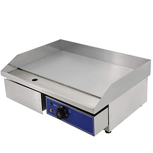 TAIMIKO Elektrische Grillplatte, Elektrogrill, halb geriffelter und glatter Grillplatte 220V 3000W (Full Flat)