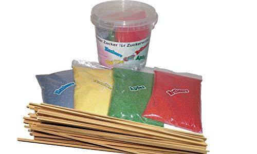 4 x 200 g Aromazucker + 50 Zuckerwattestäbe für Zuckerwattemaschinen Zuckerwatte