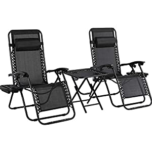 MVPower Set of 2 Zero Gravity Chairs with Side Table and Trays - Black