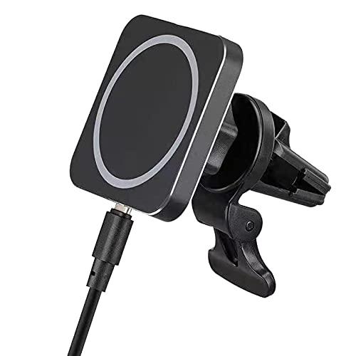 Cargador magnético inalámbrico para coche, portátil, de carga rápida, con ventosa magnética, inalámbrico, compatible con i-Phone 12/12 Pr-o/12 mini/12 Pr-o Max (negro)